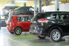 Cars in a dealer repair station Royalty Free Stock Image
