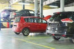Cars in a dealer repair station Stock Image