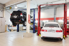 Cars in a dealer repair station in Tula Royalty Free Stock Photos