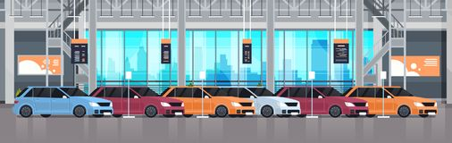 Cars Dealership Center Showroom Interior With Exhibition Of New Modern Vechicles Horizontal Banner. Flat Vector Illustration Stock Images