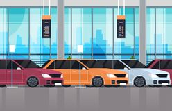Cars Dealership Center Showroom Interior With Set Of New Modern Vechicles. Flat Vector Illustration Stock Photo