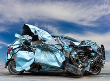 Cars demolished and sky. Royalty Free Stock Images