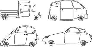 Cars design set. Vector monoline illustration of different types of cars, no white objects, outline only, EPS 8 Stock Images