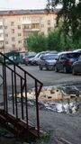 Cars of different colors and brands on the street in Russia. Wheel lights royalty free stock photos