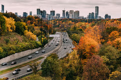 Cars on the Don Valley Highway in the Fall