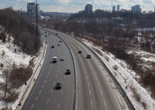 Cars on the Don Valley Parkway During the Winter Royalty Free Stock Photos