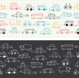 Cars doodles seamless banner. Vector Illustration. Cars doodles seamless Stock Images