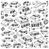 Cars doodles set Stock Photos