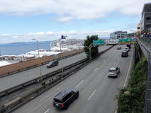 Cars drive along State Route 99 runs along the Seattle seaboard Royalty Free Stock Photos