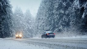 Cars Drive Through Forest In Snowstorm. Moving shot of cars driving past on road through the forest in blizzard stock footage