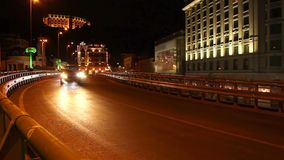 Cars drive by timelapse road junction bridge part urban city. Stock footage stock video footage