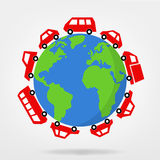 Cars driving around the world  - vector graphic Stock Photos