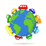 Cars driving around the world  - vector graphic Royalty Free Stock Image