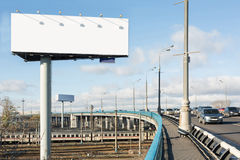 Cars driving on the bridge over the railway Stock Image
