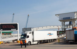 Lorry driving of a ferry at Dover port. DOVER, ENGLAND - April, 2015  Cargo trucks are getting of the ferry to enter England Stock Photo