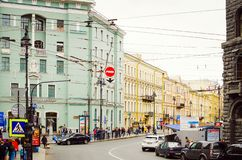 Cars driving on the main street of St. Petersburg royalty free stock image