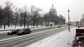 Cars driving near to St. Isaac's Cathedral Royalty Free Stock Photos