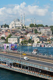 Cars driving over the beautiful Galata Bridge Royalty Free Stock Images