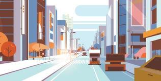 Cars driving road traffic urban street skyscraper building view modern cityscape background city life concept horizontal. Flat vector illustration vector illustration