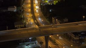 Cars driving on roads and highways in Bangkok City at night in transportation concept, Thailand.  stock video footage