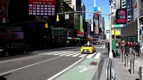 The Cars driving on 7th Avenue on Times Square in New York stock video