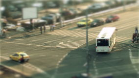 Cars driving, tilt shift in Bucharest stock footage