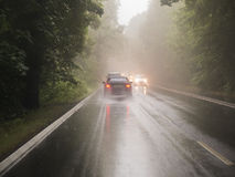 Cars driving on a wet road through woodland Royalty Free Stock Images
