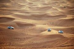 Cars in Dubai. Cars in desert, Dubai, UAE Royalty Free Stock Photos
