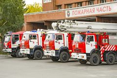 Cars EMERCOM of Russia are at the fire station stock images