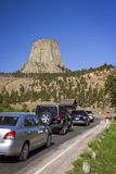 Cars entering Devils Tower Royalty Free Stock Photo