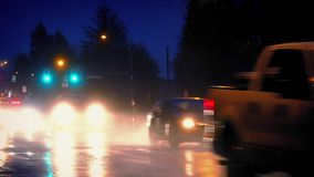 Cars In The Evening In Heavy Rain stock footage