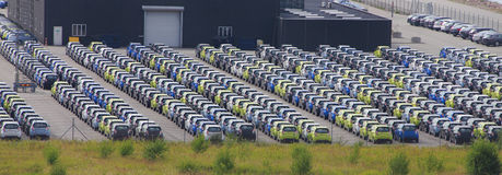 Cars for export parked. Rows of parked cars for export at Copenhagen port, Denmark Stock Image
