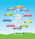 Cars on the ferris. Picture for advertising of sale of the car, the stylised show-window Stock Photography