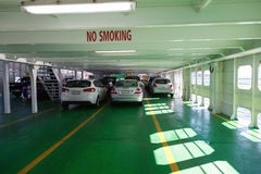 Cars on ferry. Cars aboard the ferry from Sorrento to Queenscliff, Victoria, Australia Stock Image