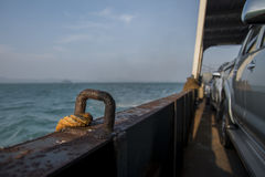 Cars on ferry. Cars lined up on a ferry en-route to Koh Chang in Thailand Stock Photos