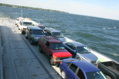 Cars on a ferryboat. Cars lined up on a ferryboat Stock Image