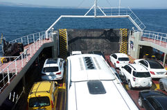Cars on ferryboat. Cars waiting to leave the ferryboat Royalty Free Stock Photography