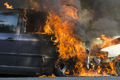 Cars on fire Royalty Free Stock Image