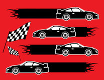 Cars and flags. On the red background Royalty Free Stock Photography