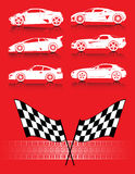 Cars, flags and tire track. On the red background Royalty Free Stock Photos
