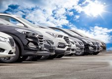 Free Cars For Sale Stock Lot Row Royalty Free Stock Image - 100676046