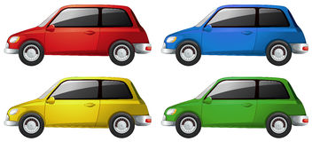 Cars in four different colors Stock Photo