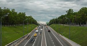 Cars on freeway, Moscow, Russia stock video