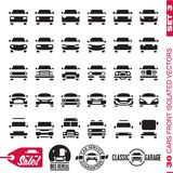 Cars front icons. Cars icons collection. Cars labels. 30 isolated vector forms set 3. Cars front icons. Cars and trucks icons collection. Cars labels. 30 Royalty Free Stock Photography