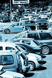 Cars in front of a Shopping center stock image