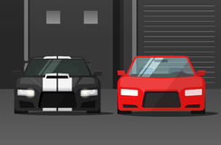 Cars front view in dark street, sport expensive auto parked. Cars front view in dark street vector illustration, sport expensive auto parked near garage or Stock Images