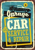 Cars and garage retro sign template. Car service and repair vintage sign with car side view and creative typography. Vector illustration Stock Photo