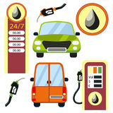 Cars and gas station elements set. Stock Photography