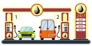 Cars on gas station. Royalty Free Stock Photo