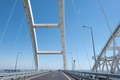 Cars go on the Crimean automobile bridge Stock Photo